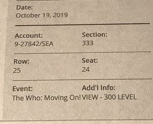 The Who Concert 2 Tickets 10/19/19 Seattle, WA T-Mobile Park for Sale in Gig Harbor, WA