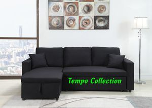 NEW IN THE BOX. LINEN PULL OUT SECTIONAL SOFA, BLACK, SKU# TT8067-BK for Sale in Santa Ana, CA