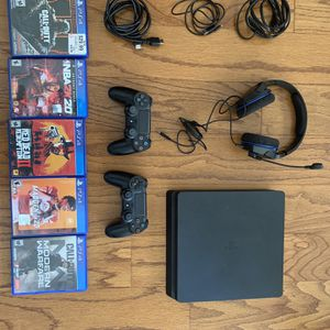 PlayStation 4 Pro Slim 1TB With All Needed Cables, 2 PS4 Controllers, 5 Games & PlayStation Headset for Sale in Wedgewood, SC