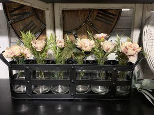 Gorgeous / farmhouse / Metal 6 vase holder w/flowers for Sale in Deltona, FL