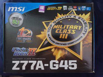 MSI Z77A-G45 Lga 1155 Intel Z77 HDMI SATA 6Gb/s USB 3.0 ATX Motherboard for Sale in La Puente,  CA