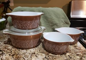 Pyrex Woodland Cassarole Dishes 4 for Sale in Germantown, MD