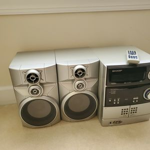 Sharp CDES777 300 Watt Mini System with 5-Tray CD Changer, Dual Cassette, Digital Tuner Radio, Silver, CD-ES777 for Sale in Rockville, MD