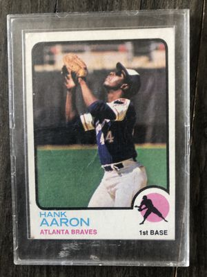 1973 Topps Hank Aaron Baseball Card #100. There is some damage to the back of the card but the front is in great condition! for Sale in Costa Mesa, CA