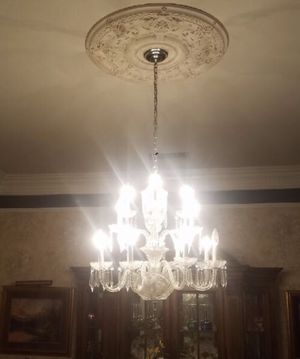 Very Large Vintage Glass and Crystal Chandelier for Sale in Sacramento, CA