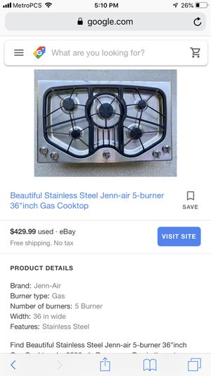 """Jen-air stainless steel 36"""" gas cooktop. for Sale in Banning, CA"""