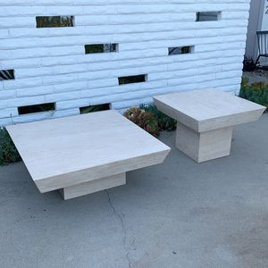 Travertine coffee table and side table set for Sale in Newport Beach, CA