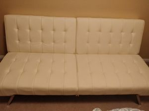 Cream/white faux leather futon/sofa bed for Sale in Monroe, WA