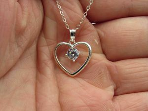"""18"""" Sterling Silver CZ Diamond Heart Pendant Necklace Vintage Minimalist Everyday Simple Beauty Statement Unique Pretty Cute Special for Sale in Lynnwood, WA"""