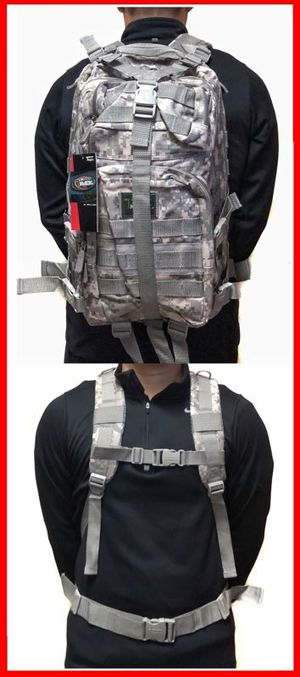 Brand NEW! Grey Digital Tactical Molle Backpack For Traveling/Gym/Sports/Gym/Hiking/Biking/Camping/Fishing/Outdoors $25 for Sale in Carson, CA