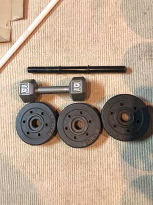 Adjustable dumbell Weights+ 10lb fixed dumbell for Sale in Medford Lakes, NJ