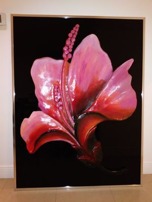 Huge Original 3-D Painting of a Pink/Red Hibiscus Flower - Mixed Media with Chrome Frame (Pintura de Hibisco Rosa/Rojo Original con Marco Cromado) for Sale in Miami Shores, FL