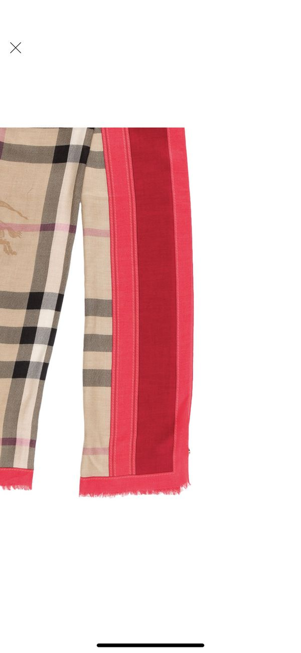 Burberry Haymarket Nova Check Scarf Red Pink Coral
