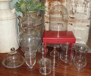 Lot of Glass Apothecary Jars Cloches & Hurricane Vases * PRICED SEPARATELY for Sale in Edmond, OK