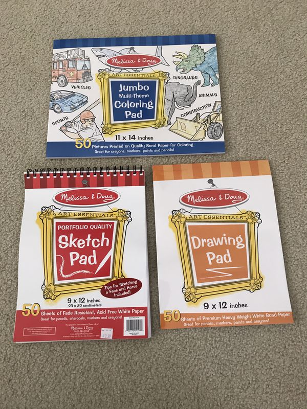 Melissa & Doug lot of sketch pad, drawing pad, jumbo multi coloring pad - NEW