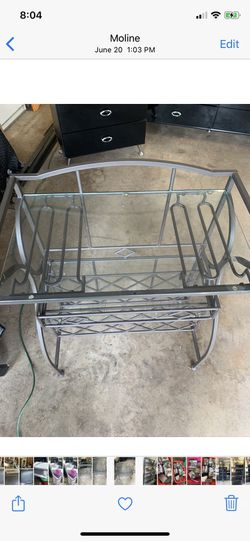Bar stand glass shelves no major scratches for Sale in Moline,  IL