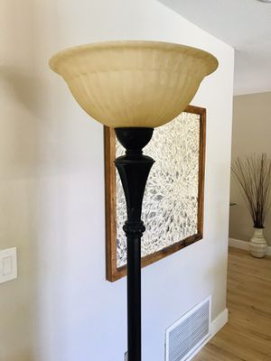 Tall floor lamp with glass bowl for Sale in Paso Robles, CA