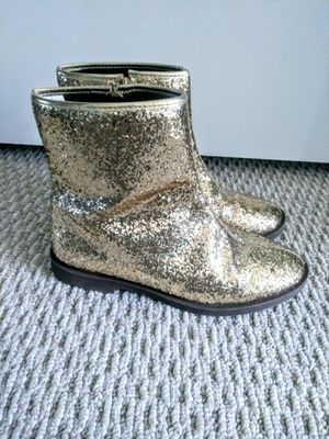 Girls kids size 4 gold glitter ankle boots worn 1 time for Sale in Port St. Lucie, FL