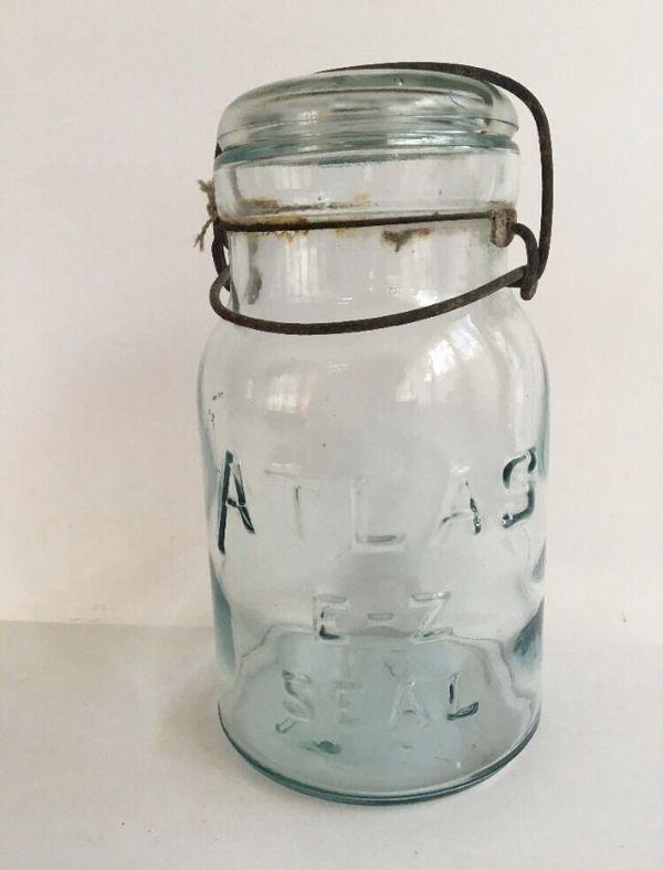 Vintage Atlas EZ Seal Quart Jar With Wire Bail