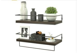 ZGO Floating Shelves for Wall Set of 2, Rustic Wood Wall Mounted Decor Storage Shelves with Black Metal Frame and for Sale in Rancho Cucamonga, CA
