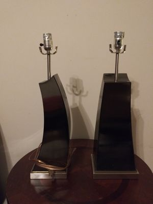 Set of stainless steal brushed metal lamps. Fairly used for Sale in Fairburn, GA