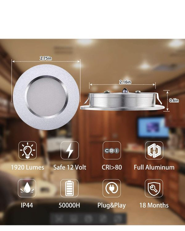 LED RV Lights, 12V Led Lights Dimmable Camper Interior Lights 3000K Ultra-Thin RV Lights Interior Waterproof 12 Volt LED Ceiling Lights Motorhome Sai