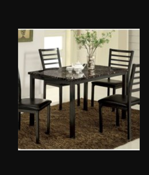 Marble 4 chair black table for Sale in Downey, CA