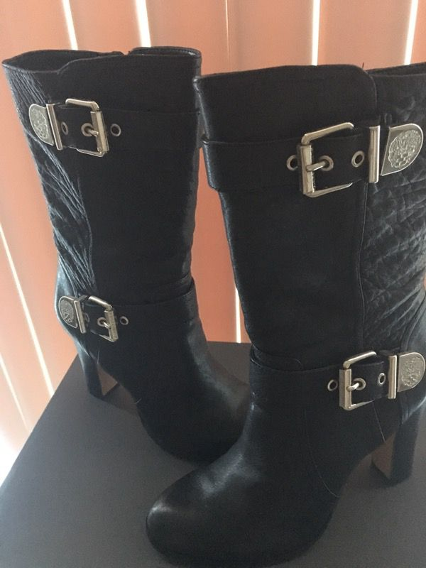 Vince Camuto Leather Mid high black boots.