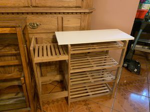 Small white an wooden table for Sale in Levittown, NY