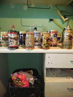 collection beer mugs from different years Budweiser for Sale in San Diego, CA