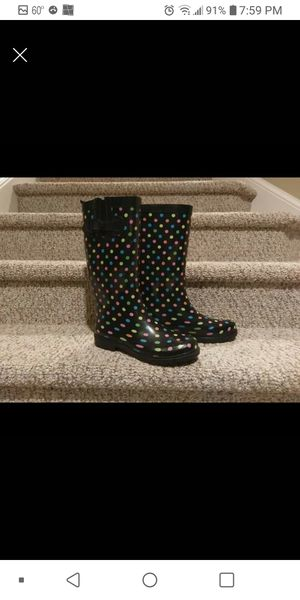 New Size 8 Women's Capelli Polka Dot Rain Boot, Adjustable Calf for Sale in Woodbridge, VA