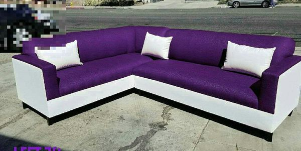 NEW 7X9FT PURPLE MICROFIBER COMBO SECTIONAL COUCHES