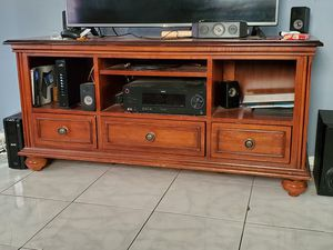 TV stand solid wood, very sturdy desk and a book shelf for Sale in Tampa, FL