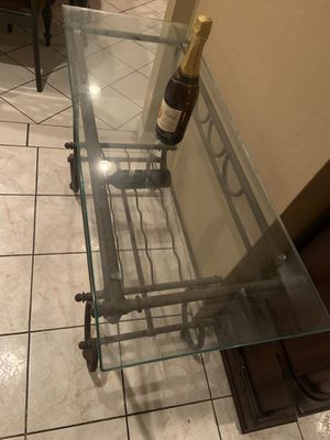 Table for wine bottles and glass on top for frames o pictures for Sale in La Puente, CA