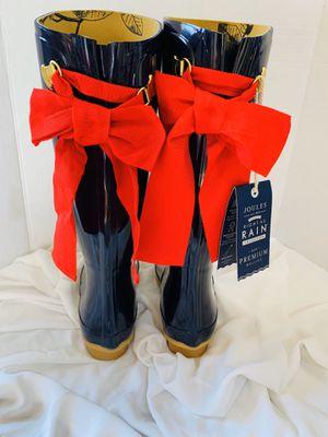 $164.95...Joules Evedon Ribbon Women's Mid Welly Waterproof Rain Boots Blue Sz 6 for Sale in El Paso, TX