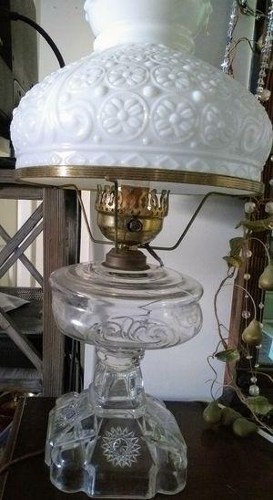 Antique large Hurricane Oil Lamp w/ Hobnail milk glass ruffle shade for Sale in Santa Monica, CA