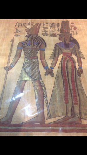 Unusual Ancient Egyptian Hieroglyphs Of Mummy's on Real Papyrus Paper- High Quality & Made In Egypt- Modern Reproduction of Ancient Hieroglyphs for Sale in Chantilly, VA