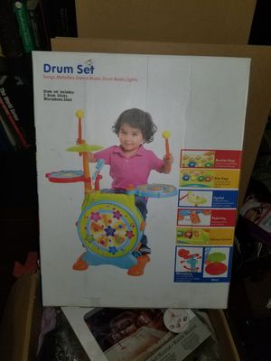 WolVol Electric Drum Set for Kids with Working Microphone and a Chair - Activity, Bass Drum and Pedal With Drum Sticks (Adjustable Volume) for Sale in Dearborn Heights, MI