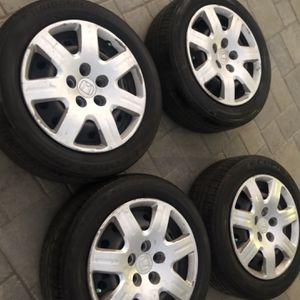 16x7 5x114.4 Honda/Acura wheels with tires! Bridgestone 75% thread ! for Sale in Lakewood, CA