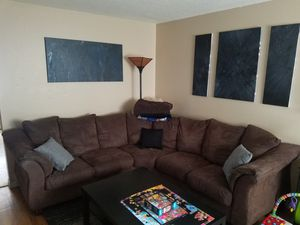 Brown suede sectional couch for Sale in Colorado Springs, CO