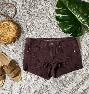 American eagle burgundy distressed shorts size 8 for Sale in Canyon Lake, CA