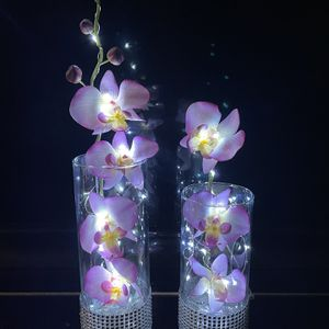 Silk Orchids Glass Vase Led Lights for Sale in Herndon, VA