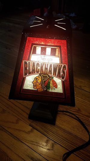 Chicago Blackhawks Glass Lamp for Sale in Chicago, IL