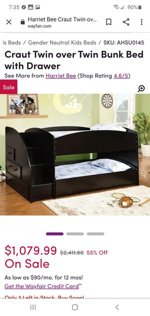 Bunk bed with staircase drawers, caster bed, dresser and storage for Sale in Sacramento, CA
