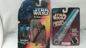 Star Wars collectors light saber key chain and Darth Vader action figure. for Sale in Ruskin, FL
