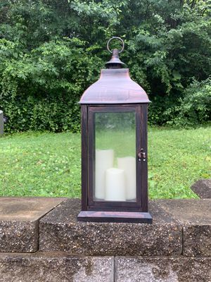 Copper Lantern with LED Pillar Candles 22' for Sale in Marietta, GA