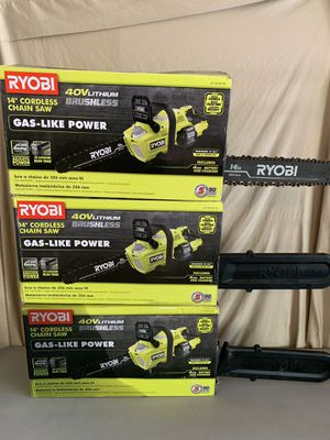 (3) RYOBI 14 in. 40-Volt Brushless Cordless Chainsaws (dewalt) - IN BOX - great condition - ALL 3 for $100 no less - Tool Only for Sale in Spring, TX