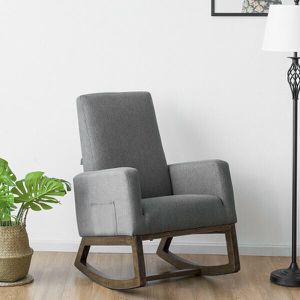 Mid Century Retro Fabric Upholstered Massage Rocking Chair Nursery Armchair Gray for Sale in Palmdale, CA
