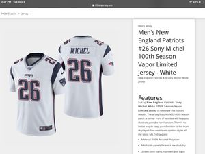 Patriots jersey,100th Anniversary Jerseys. SONY MICHEL #26 .AND OTHER PLAYERS.PICK UP OR SHIP. for Sale in Boston, MA