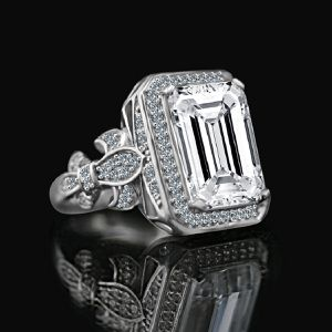 12 CT. Intensely Brilliant Emerald Cut(also available Radiant cut) Diamond Veneer important vintage style Sterling Silver Cocktail Ring. 635R75600 for Sale in Coronado, CA